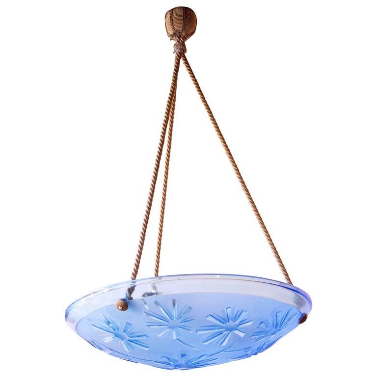 French Art Deco Blue Glass Pendant Fixture For Sale