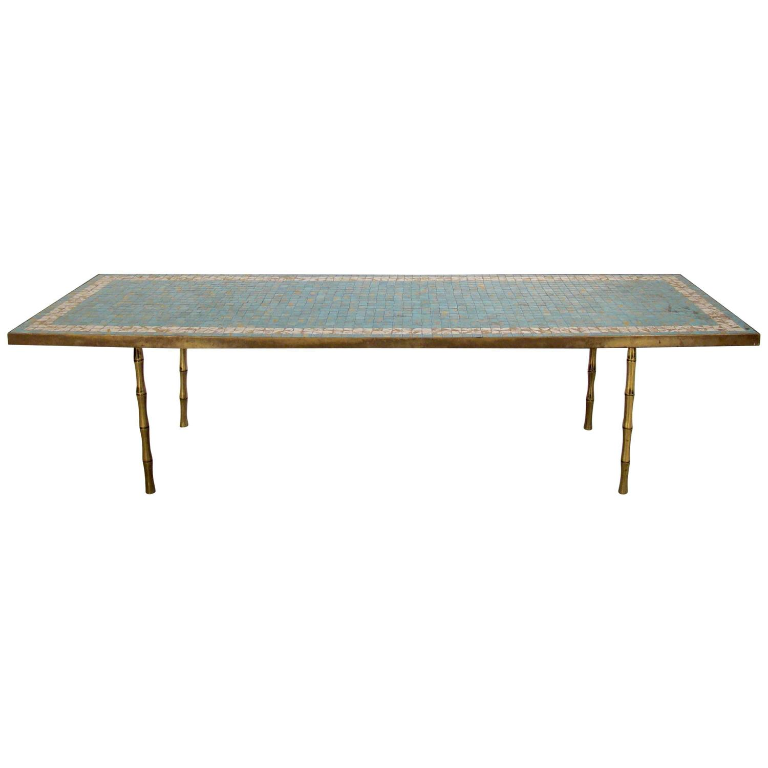Inlaid Tile and Brass Cocktail or Coffee Table with Brass ...