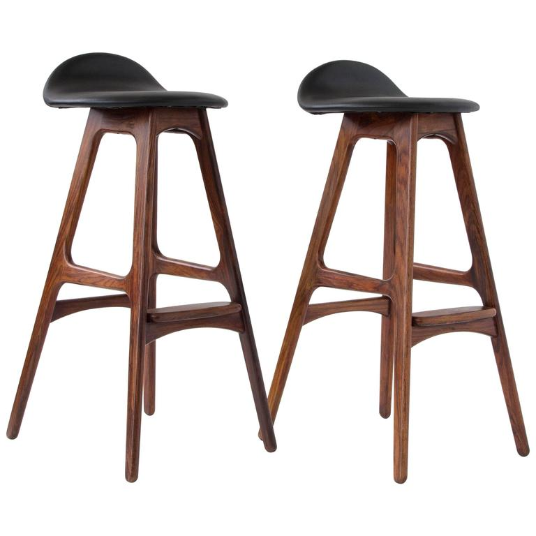 Pair Of Rosewood And Leather Bar Stools By Erik Buch For O