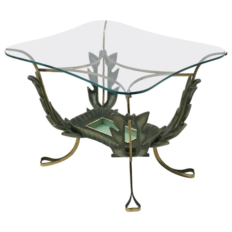 Brass and Varnished Metal Coffee Table by Pierluigi Colli, Italy 1950s For Sale