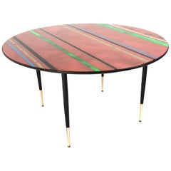 Midcentury Round Coffee Table with a Red Back-Painted Glass Top, Italy 1950s