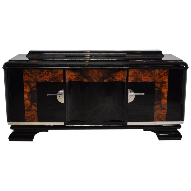 Large Art Deco Buffet with Burl Details
