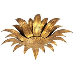 Spanish 1960s Gilt Iron Sunflower Wall Sconce or Ceiling Fixture