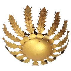Giant Brutalist Gilt Iron Flower Burst Ceiling Light Fixture, Spain, 1960s