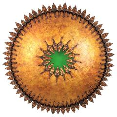 Giant Brutalist Hand-Hammered Sunburst Ceiling Light Fixture