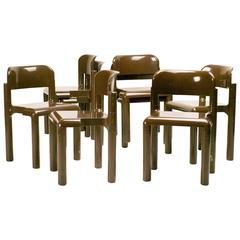 Set of Eight Chocolate Brown Eero Aarnio Chairs