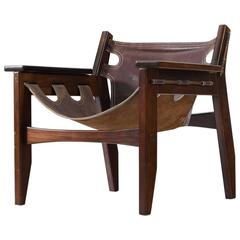 Sergio Rodrigues 'Kilin' Lounge Chairs in Rosewood and Leather