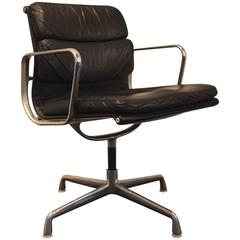 Charles & Ray Eames EA 208 Leather and Chrome Low Back Soft Pad Chair