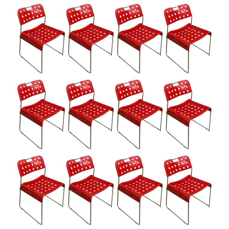 1971, Rodney Kinsman, Set Rare Red Omstak Stacking Chairs