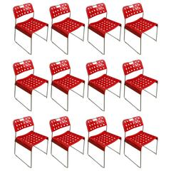 1971, Rodney Kinsman Rare Red Omstak Stacking Chairs