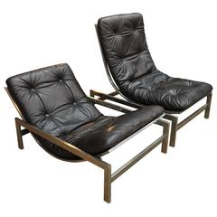 Pair of Leather and Iron Lounge Chairs by Guy Lefevre, 1970s
