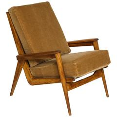 Guariche Attr. Oakwood Camel Mohair FS 144 Lounge Chair, Mid-Century France 1950