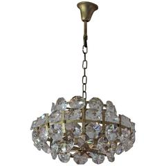 Vintage Hollywood Regency brass and crystal chandelier, 1960s