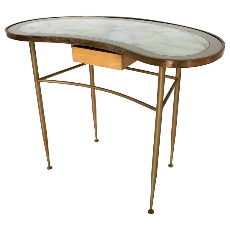 1stdibs Brass Smoked Glass French Console Table: Italian Brass And Glass Console Table, 1960s For Sale At