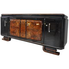 Extra Large Burl Wood Sideboard from the French Art Deco Era