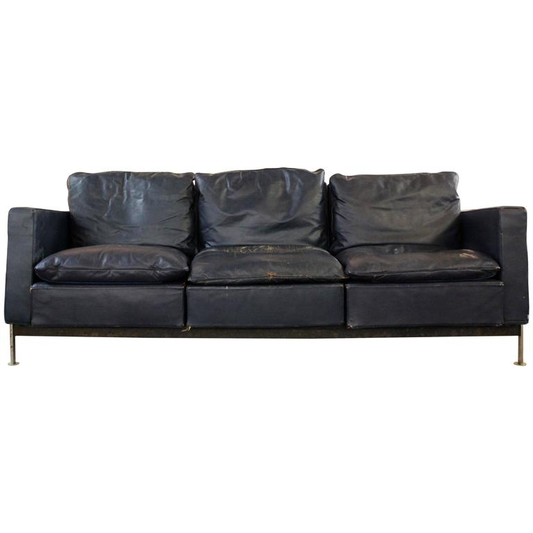 Robert Haussmann for De Sede Chrome Three-Seat Sofa