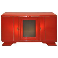 Roter Art Deco Schrank mit Wunderbarer Lackierung