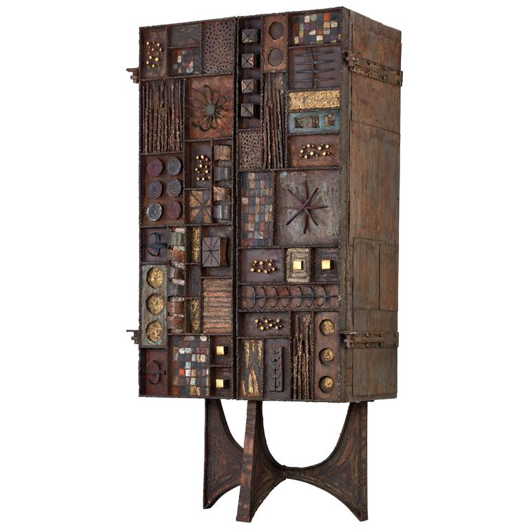 Rare Paul Evans Studio Forge Cabinet 1969 For Sale at 1stdibs
