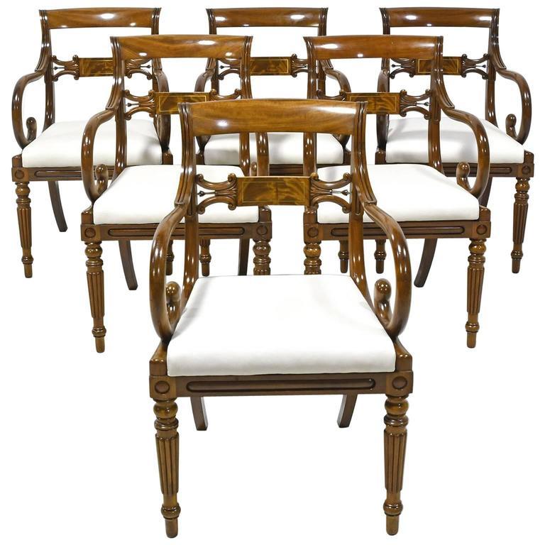 Set of Six Swedish Empire Armchairs in Mahogany, Upholstered Seats, circa 1825
