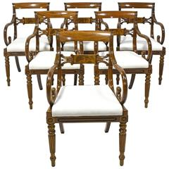 Set of Six Swedish Empire Armchairs in Mahogany with Upholstered Seats, c. 1825
