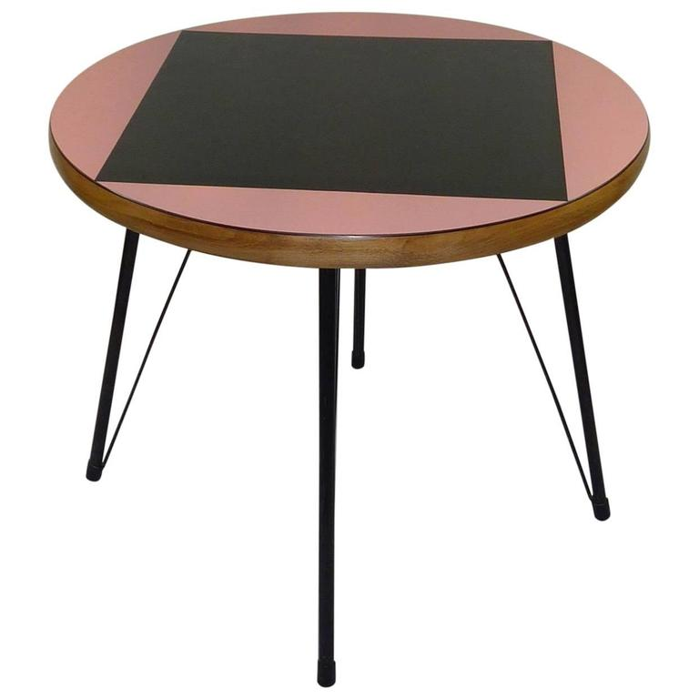 Pink and Black Mid-Century Rockabilly Dining Table For Sale