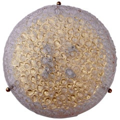 "Huge 20"" Textured Bubble Glass & Brass Flush Mount Light by Hillebrand, Germany"