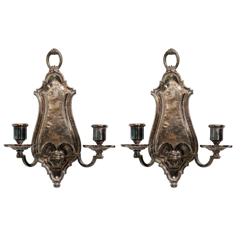 Pair of Silver plated Wall Sconces by E.F. Caldwell 1