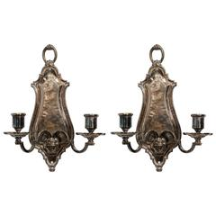Pair of Silver plated Wall Sconces by E.F. Caldwell