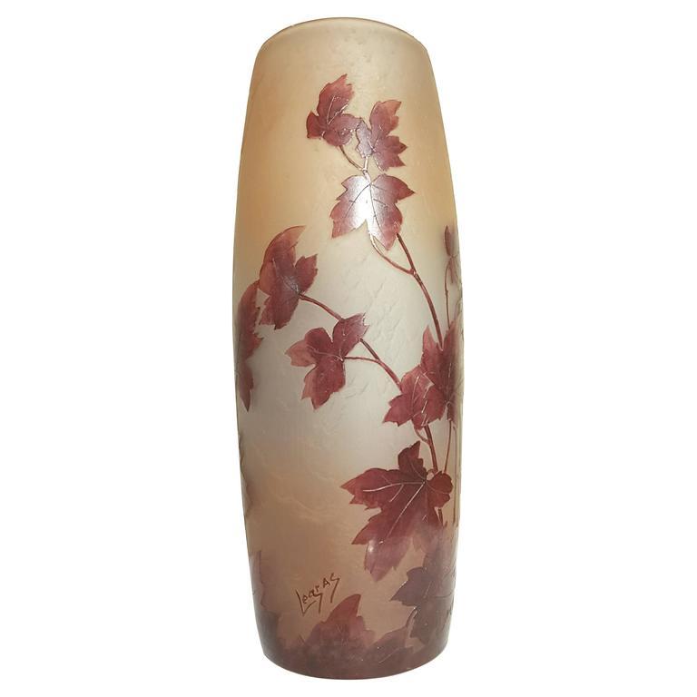 "Legras ""Rubies"" Cameo Art Glass Vase"