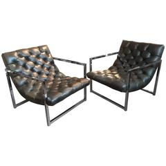 Pair of Chrome and Tufted Leather Lounge Chairs, Milo Baughman