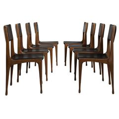 Carlo de Carli Set of Eight Dining Room Chairs in Walnut for Cassina