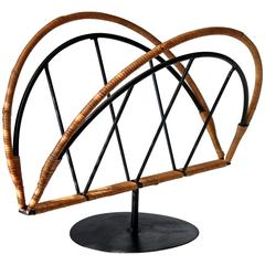 Arthur Umanoff for Raymor Steel and Rattan Magazine Stand Rack