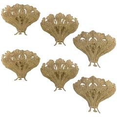 Set of Six Renaissance Style Schonbek Three-Light Wall Sconces