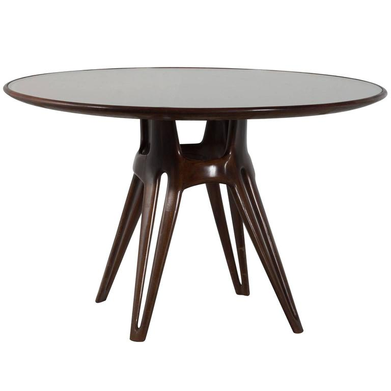 Italian Dining Table In Walnut With Round Glass Top At 1stdibs