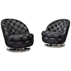 Pair of Milo Baughman Chrome Base Swivel Lounge Chairs