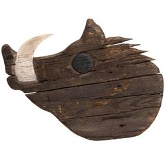 Large Wood Carved Folk Art Boar's Head Sign