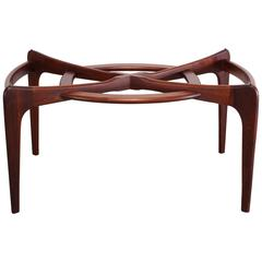 Adrian Pearsall Walnut Dining Table with Original Glass, 1960s