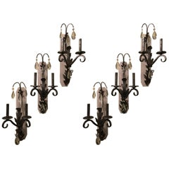 Set of Six Silver Rustic Two-Light Wall Sconce by Schonbek