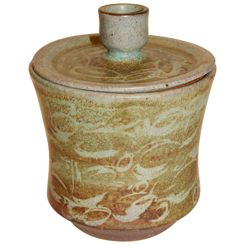 Important California Potter Carlton Ball, Studio Ceramic Lidded Vase