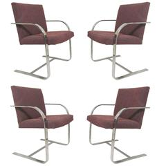 Set of Four Flat Bar Chrome Brno Chairs, Style of Mies Van Der Rohe
