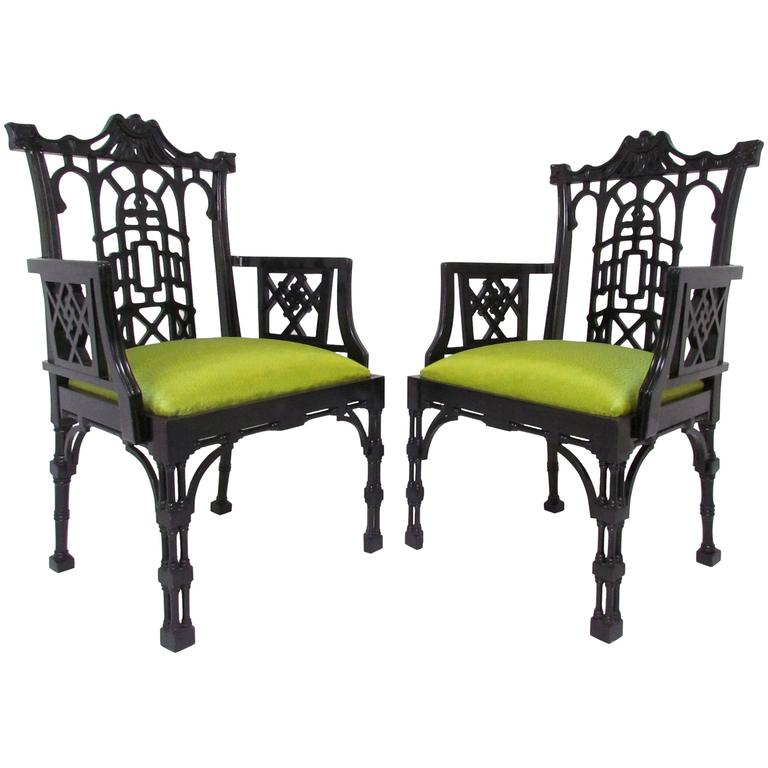 Pair of Chinese Chippendale Carved Fretwork Armchairs
