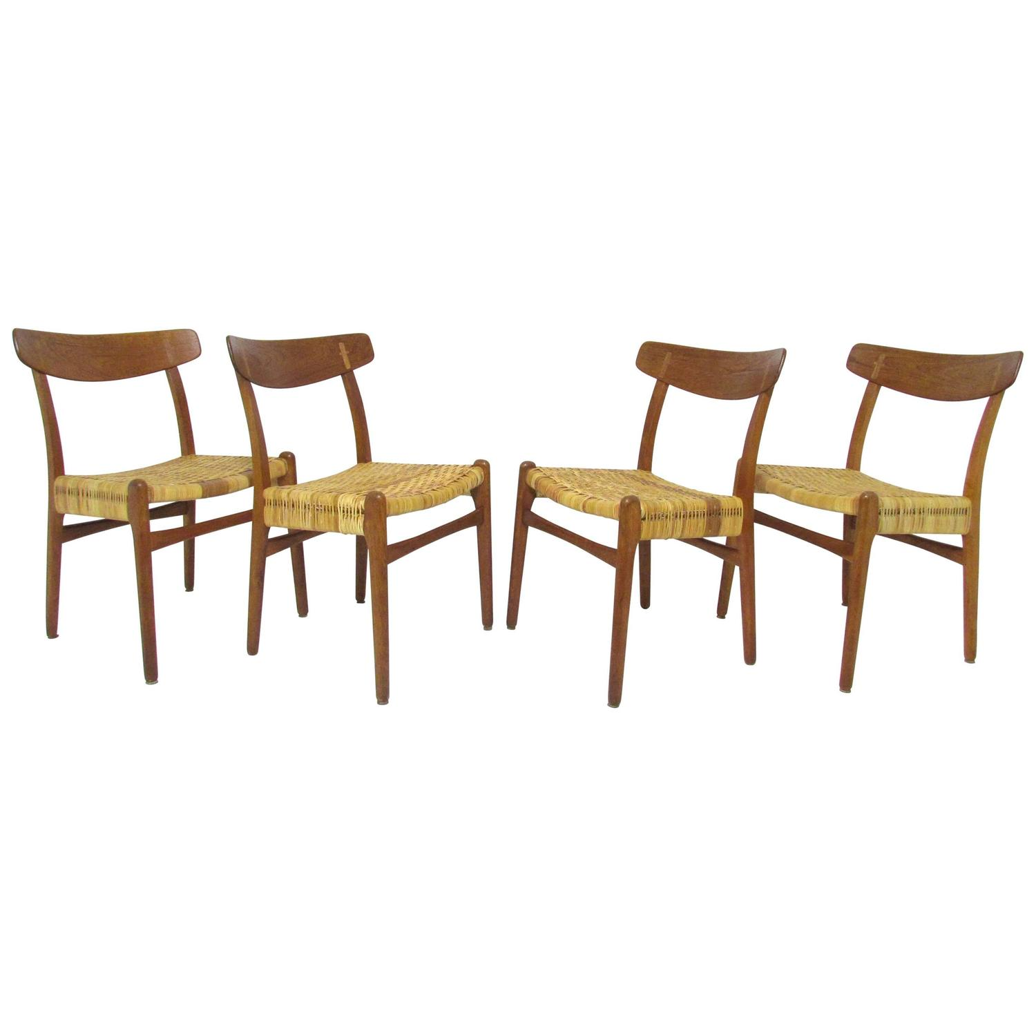 Set of Four Hans Wegner CH-23 Dining Chairs in Cane, Teak and Oak, circa  1950s