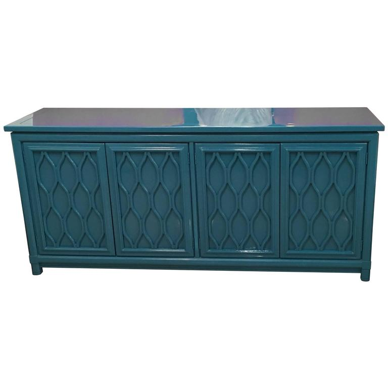 Lacquered Credenza Buffet Sideboard Blue Teal Dresser Hollywood Regency  Vintage 1 - Lacquered Credenza Buffet Sideboard Blue Teal Dresser Hollywood
