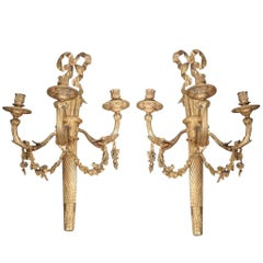 Fine Pair Large French Louis XVI Wall Sconces Lights