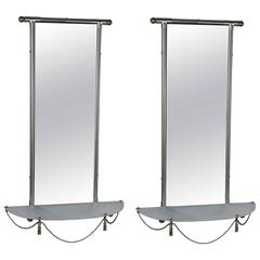 Pair of Chrome and Brass Wall Mirrors with Semi-Circular Shelves