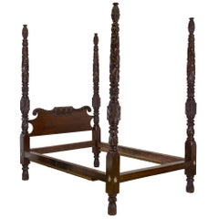 Highly Carved Classical Mahogany Four Poster Bed, Massachusetts, circa 1820