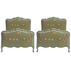 Early 20th Century Pair of French Twin Beds and Bases Single, Upholstered