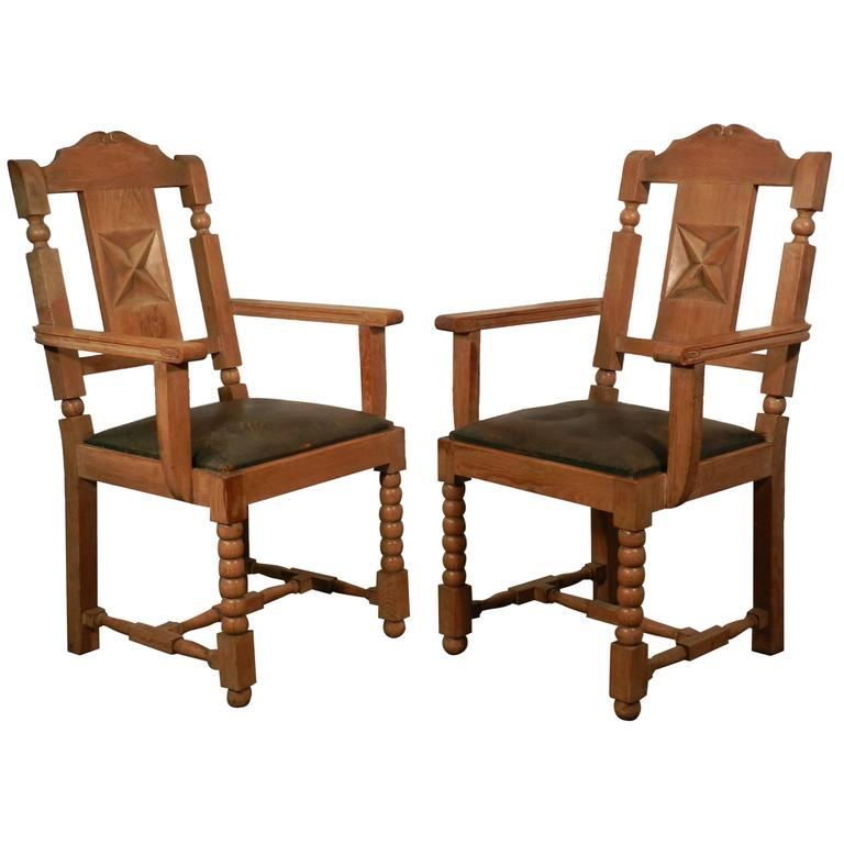 In the Style of Charles Dudouyt, Pair of Neo Rustique Oak Armchairs For Sale