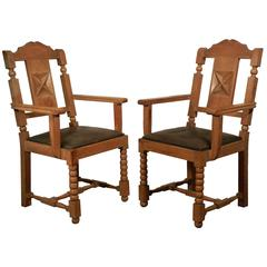 In the Style of Charles Dudouyt, Pair of Neo Rustique Oak Armchairs