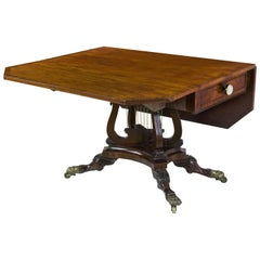 Mahogany Drop Leaf Table Crossed Lyres Attributed Joseph B. Barry, Phil. PA 1820